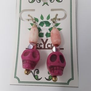 Handmade Pink Skull Earrings With Repurposed Beads
